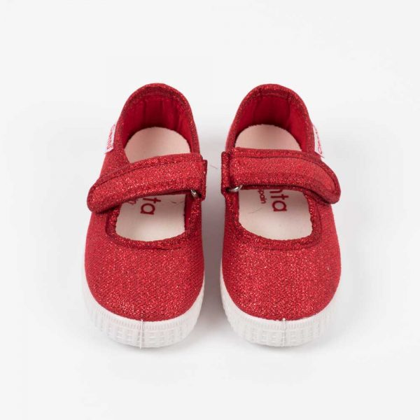 Sko Alice red glitter front