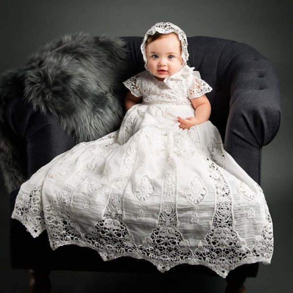 Grace Christening Gown and Bonnet front