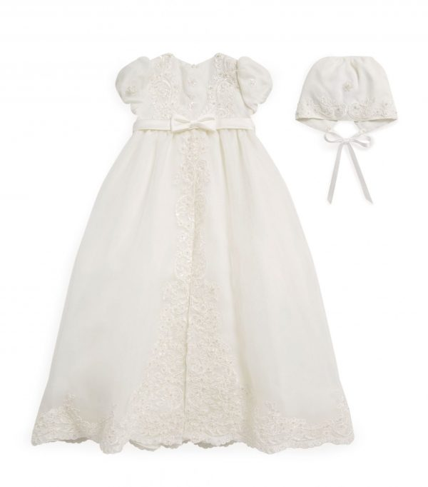 Sarah Louise Floral Beaded Christening Gown front