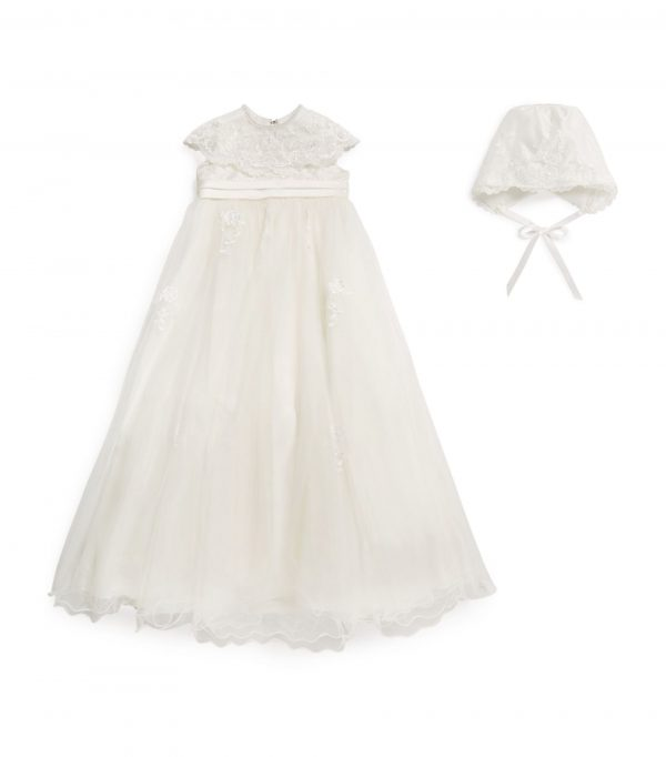 Sarah Louise Floral Embroidery Christening Gown front