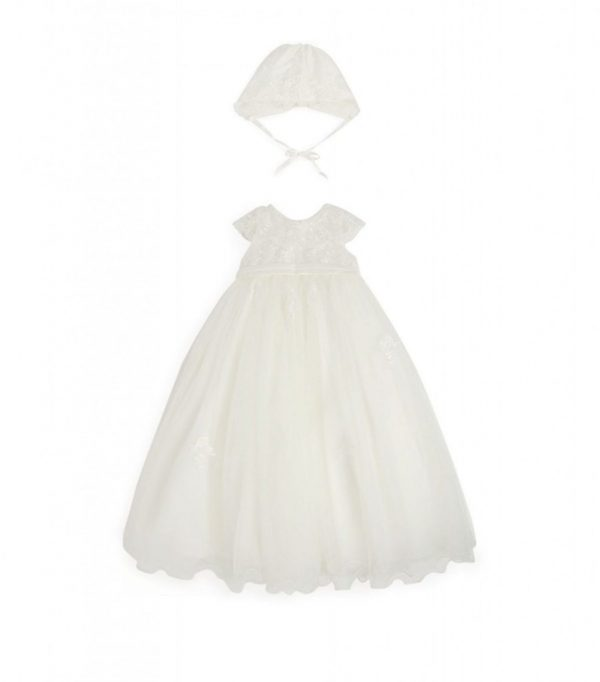Sarah Louise Lace design christening gown front