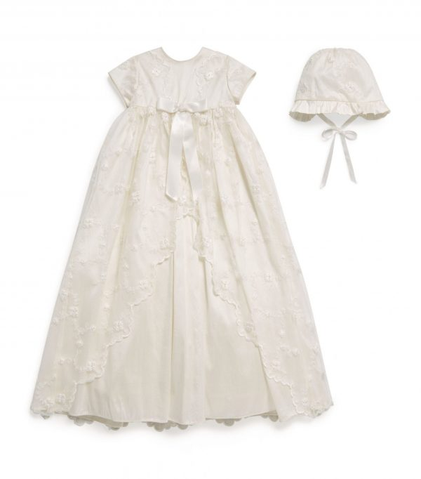 sarah louise embroidered net overlay christening gown front
